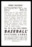 1952 Bowman REPRINT #92  Eddie Waitkus  Back Thumbnail