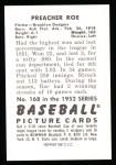 1952 Bowman REPRINT #168  Preacher Roe  Back Thumbnail
