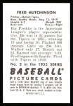1952 Bowman REPRINT #3  Fred Hutchinson  Back Thumbnail