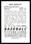 1952 Bowman REPRINT #18  Don Mueller  Back Thumbnail