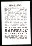 1952 Bowman REPRINT #16  Omar Lown  Back Thumbnail