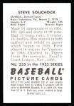 1952 Bowman REPRINT #235  Steve Souchock  Back Thumbnail