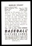 1952 Bowman REPRINT #147  Marlin Stuart  Back Thumbnail