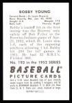 1952 Bowman REPRINT #193  Bob Young  Back Thumbnail