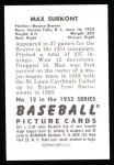 1952 Bowman REPRINT #12  Max Surkont  Back Thumbnail