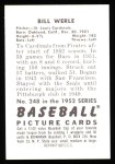 1952 Bowman REPRINT #248 W Bill Werle  Back Thumbnail