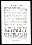 1952 Bowman REPRINT #221  Lou Kretlow  Back Thumbnail