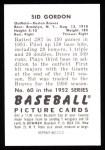 1952 Bowman REPRINT #60  Sid Gordon  Back Thumbnail