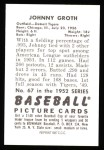 1952 Bowman REPRINT #67  Johnny Groth  Back Thumbnail