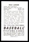 1952 Bowman REPRINT #110  Max Lanier  Back Thumbnail