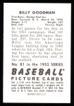 1952 Bowman REPRINT #81  Billy Goodman  Back Thumbnail