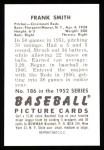 1952 Bowman REPRINT #186  Frank Smith  Back Thumbnail