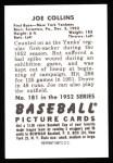1952 Bowman REPRINT #181  Joe Collins  Back Thumbnail