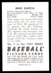 1952 Bowman REPRINT #7  Mike Garcia  Back Thumbnail