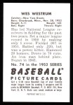 1952 Bowman REPRINT #74  Wes Westrum  Back Thumbnail