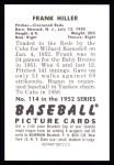 1952 Bowman REPRINT #114  Frank Hiller  Back Thumbnail