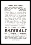 1952 Bowman REPRINT #73  Jerry Coleman  Back Thumbnail