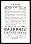 1952 Bowman REPRINT #167  Bobby Avila  Back Thumbnail