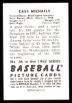 1952 Bowman REPRINT #36  Cass Michaels  Back Thumbnail