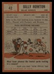 1962 Topps #42  Bill Billy Howton  Back Thumbnail