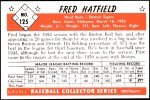 1953 Bowman REPRINT #125  Fred Hatfield  Back Thumbnail