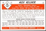 1953 Bowman REPRINT #107  Alex Kellner  Back Thumbnail