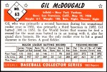 1953 Bowman REPRINT #63  Gil McDougald  Back Thumbnail