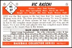 1953 Bowman REPRINT #27  Vic Raschi  Back Thumbnail