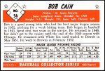 1953 Bowman REPRINT #56  Bob Cain  Back Thumbnail