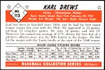 1953 Bowman REPRINT #113  Karl Drews  Back Thumbnail