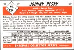 1953 Bowman REPRINT #134  Johnny Pesky  Back Thumbnail