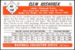 1953 Bowman Reprints #147  Clem Koshorek  Back Thumbnail