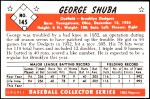 1953 Bowman REPRINT #145  George Shuba  Back Thumbnail