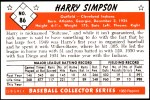 1953 Bowman REPRINT #86  Harry Simpson  Back Thumbnail