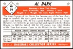 1953 Bowman REPRINT #19  Al Dark  Back Thumbnail