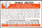 1953 Bowman REPRINT #124  Chuck Dressen  Back Thumbnail