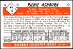 1953 Bowman REPRINT #10  Richie Ashburn  Back Thumbnail
