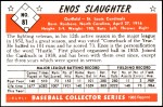 1953 Bowman REPRINT #81  Enos Slaughter  Back Thumbnail