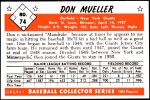 1953 Bowman REPRINT #74  Don Mueller  Back Thumbnail