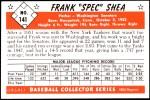 1953 Bowman REPRINT #141  Frank Shea  Back Thumbnail