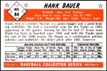 1953 Bowman REPRINT #84  Hank Bauer  Back Thumbnail