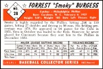 1953 Bowman REPRINT #28  Smoky Burgess  Back Thumbnail