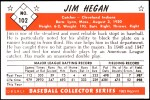1953 Bowman REPRINT #102  Jim Hegan  Back Thumbnail