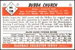 1953 Bowman REPRINT #138  Bubba Church  Back Thumbnail