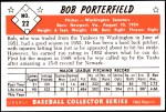 1953 Bowman REPRINT #22  Bob Porterfield  Back Thumbnail