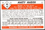 1953 Bowman REPRINT #52  Marty Marion  Back Thumbnail