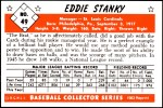 1953 Bowman Reprints #49  Eddie Stanky  Back Thumbnail