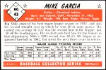 1953 Bowman REPRINT #43  Mike Garcia  Back Thumbnail