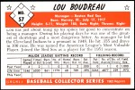 1953 Bowman Reprints #57  Lou Boudreau  Back Thumbnail