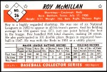 1953 Bowman REPRINT #26  Roy McMillan  Back Thumbnail